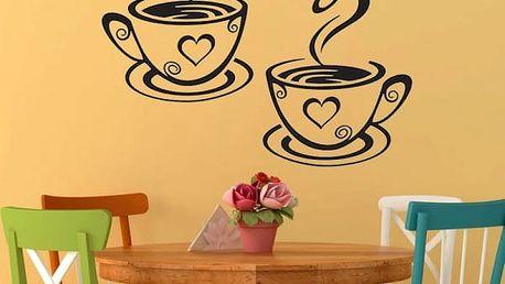 Samolepka na zeď 31 x 19 cm - Hrnky s kávou - dodání do 2 dnů