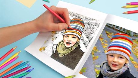 Originální omalovánky pro děti ve formátu A5 z vašich vlastních fotek