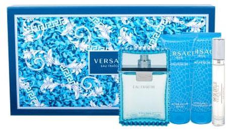 Versace Man Eau Fraiche dárková kazeta pro muže toaletní voda 100 ml + balzám po holení 100 ml + sprchový gel 100 ml + toaletní voda 10 ml