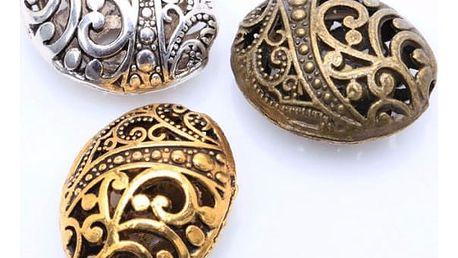 Kovové korálky s ornamenty - 10 kusů