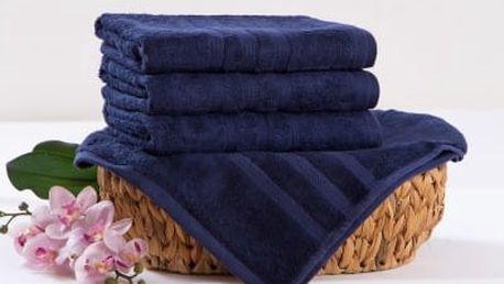 XPOSE ® Bambusová osuška SÁRA - tmavě modrá 70x140 cm