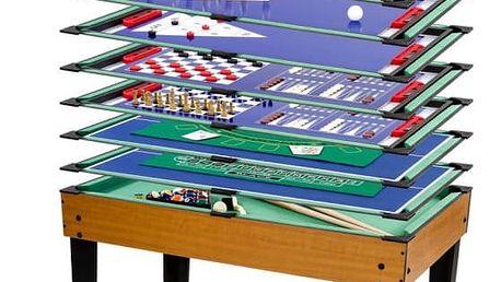 Multifunkční herní stůl 15 v 1 - hnědý
