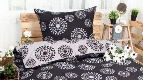XPOSE ® Bavlněné povlečení JANIS DUO EXCLUSIVE - černo šedá 140x200, 70x90