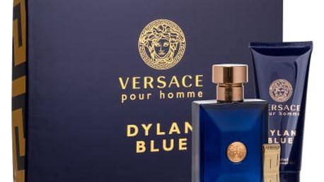 Versace Pour Homme Dylan Blue dárková kazeta pro muže toaletní voda 100 ml + sprchový gel 100 ml + spona na bankovky