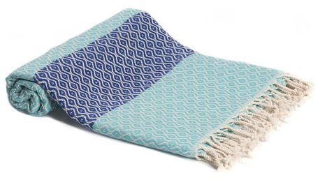 Tyrkysová ručně tkaná osuška Ivy's Deniz, 95x180cm
