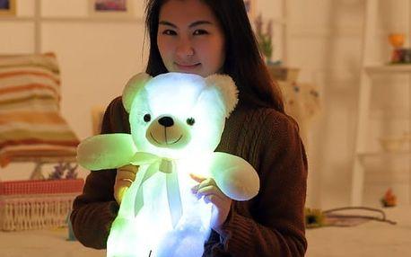 Plyšový LED medvídek svítící ve tmě - 50 cm