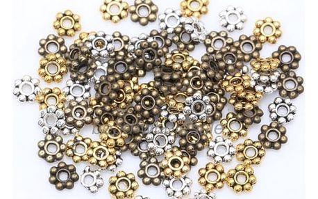 Kovové korálky v podobě kytičky pro výrobu šperků - 1000 ks