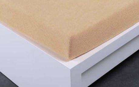 XPOSE ® Bambusové froté prostěradlo dvoulůžko - béžová 200x220 cm