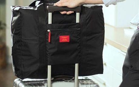 Skládací cestovní taška na kufr - černá barva - dodání do 2 dnů