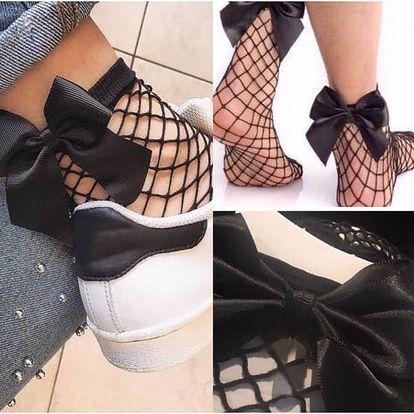 Síťované ponožky s mašlí Ariana