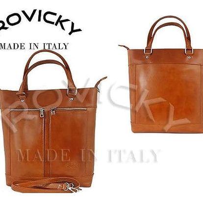 Prostorná dámská kabelka z pravé kůže v barvě Camel