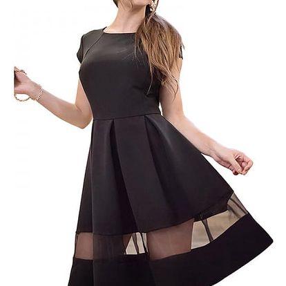 Elegantní šaty se síťovaným průstřihem