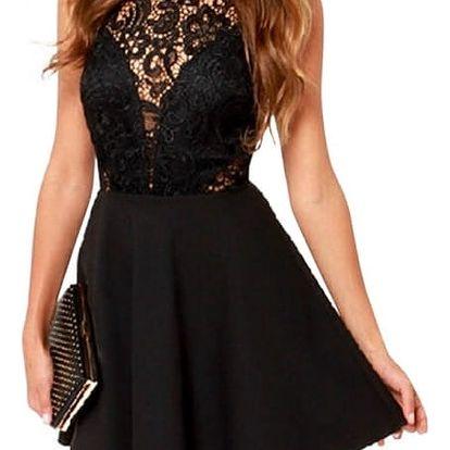 Elegantní šaty s krajkou v dekoltu a na zádech