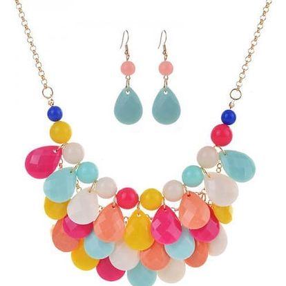 Set třívrstvého náhrdelníku a náušnic - 8 barev