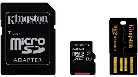 Kingston Micro SDXC 64GB Class 10 + SD adaptér + USB čtečka - MBLY10G2/64GB