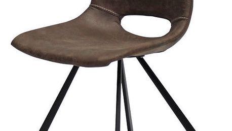 Světle hnědá jídelní židle s černým podnožím Canett Coronas - doprava zdarma!