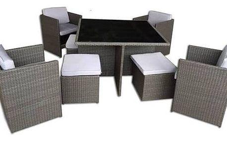 Ratanový nábytek Rojaplast Palermo šedý/hnědý Zahradní gril kulatý SportTeam 35cm + Doprava zdarma