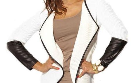 Stylový cardigan s PU koženými rukávy