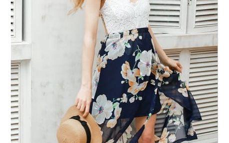Šaty s květinovou sukní a krajkovým topem