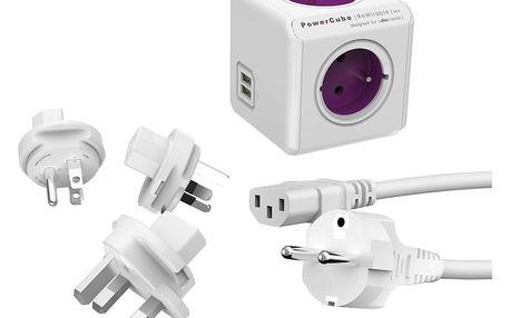 PowerCube Rewirable USB + Travel Plugs + IEC kabel - REWIRABLE USB + TP + IEC + PowerCube Cable 1.5m, USB-C, bílý