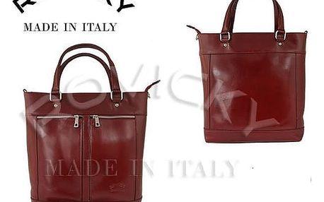 Prostorná dámská kabelka z pravé kůže bordó