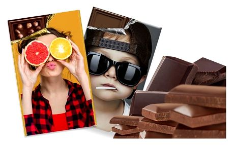 250 g belgické čokolády v originálním obalu s vlastní fotografií a textem