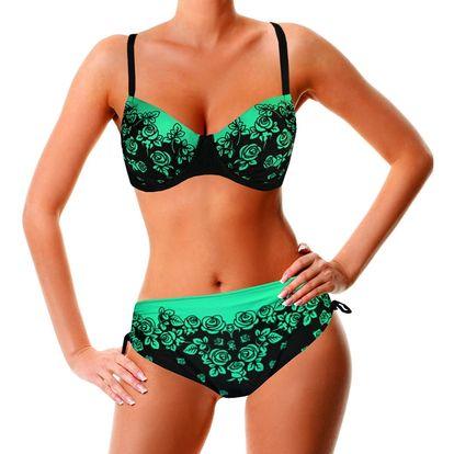 Green Rose dvoudílné plavky pro plnoštíhlé