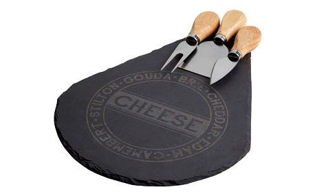 Servírovací prkénko na sýr se 3 noži Premier Housewares Cheese Set