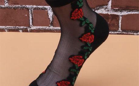 Průhledné ponožky s výšivkami - 6 variant