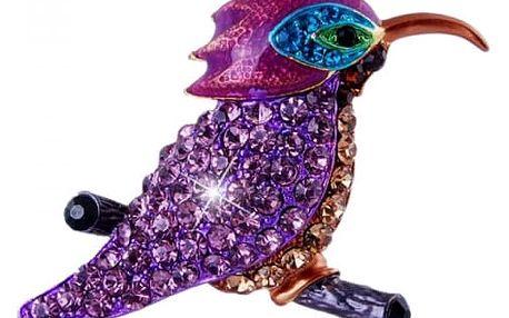 Brož z krystalků s motivem kolibříka ve fialové barvě