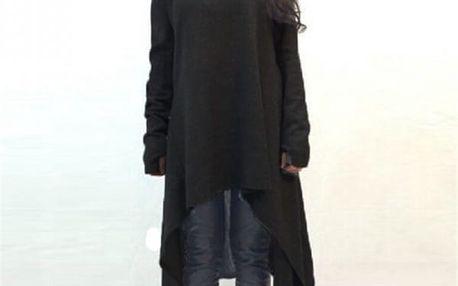 Dlouhý svetr volného střihu - 2 barvy - černá, velikost 7 - dodání do 2 dnů