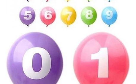 10 kusů párty balónků s číslem