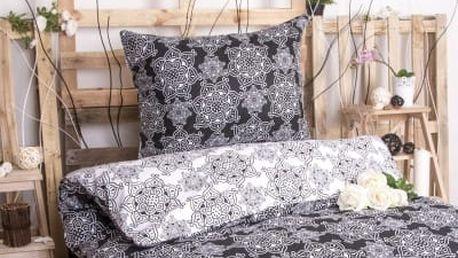 XPOSE ® Bavlněné povlečení na dvě lůžka ILONA DUO - černá 70X90, 140X200