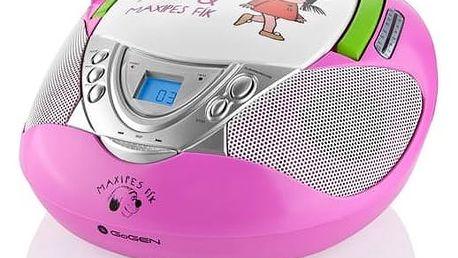 Radiopřijímač s CD GoGEN Maxipes Fík MAXI RADIO P, CD/MP3/USB růžový