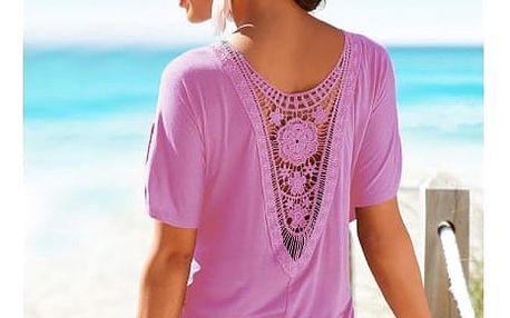 Dámské tričko s krajkovými květy na zádech - fialová, velikost 2 - dodání do 2 dnů