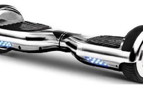 Hoverboard Olpran - stříbrná + Reflexní sada 2 SportTeam (pásek, přívěsek, samolepky) - zelené v hodnotě 58 Kč + Doprava zdarma