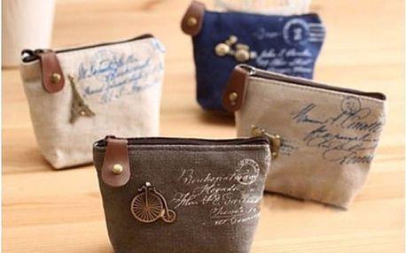 Látková peněženka ve vintage stylu - 4 varianty - šedá - dodání do 2 dnů