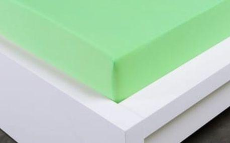 XPOSE ® Jersey prostěradlo Exclusive dvoulůžko - světle zelená 160x200 cm