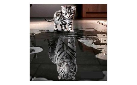 Mozaikový obrázek s koťátkem a bílým tygrem