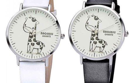 Dívčí hodinky s kreslenou žirafou
