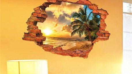 3D samolepka na zeď s imitací výhledu do přírody - pláž s palmou - dodání do 2 dnů