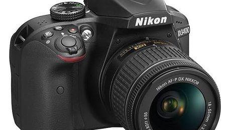 Digitální fotoaparát Nikon D3400 + AF-P 18-55 NON VR (VBA490K002) černý + cashback + Doprava zdarma