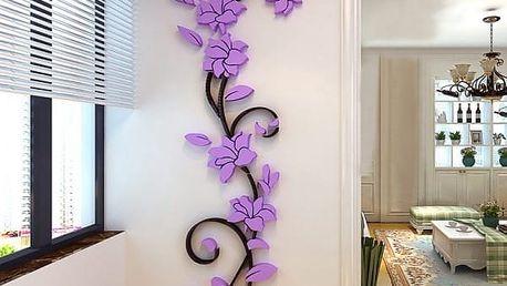 3D samolepka na zeď s motivem popínavé květiny - dodání do 2 dnů