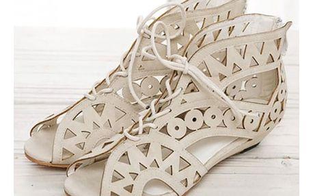 Děrované sandálky s tkaničkami - 3 barvy
