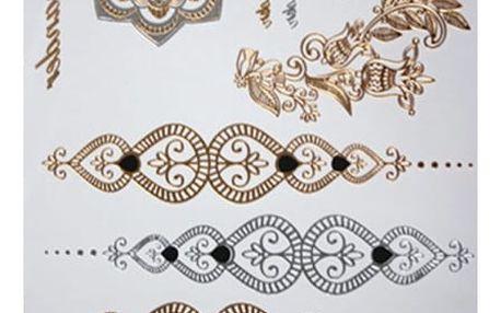 Sada dočasných tetování v lesklé zlaté a stříbrné barvě
