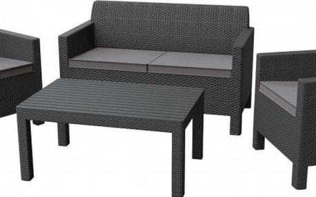 Orlando - Lounge set, velký stůl (grafitová/šedá)
