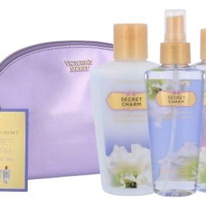 Victoria´s Secret Secret Charm dárková kazeta pro ženy vyživující tělový spray 125 ml + tělové mléko 125 ml + sprchový gel 125 ml + kosmetická taška