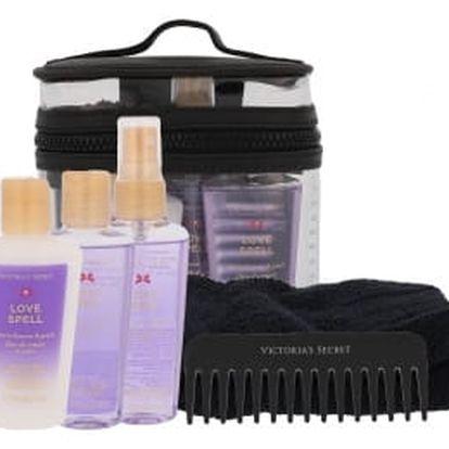 Victoria´s Secret Love Spell dárková kazeta pro ženy vyživující tělový spray 60 ml + tělové mléko 60 ml + sprchový gel 60 ml + hřeben + ručník + kosmetická taška