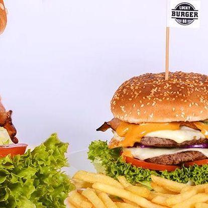 150g hovězí burger s hranolky + pivo nebo limonáda