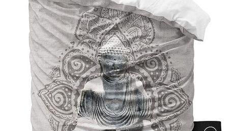 Šedé povlečení z mikroperkálu Sleeptime Buddha Love, 140x220cm